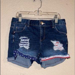 Justice Distressed Stars -Stripes Blue Jean Shorts